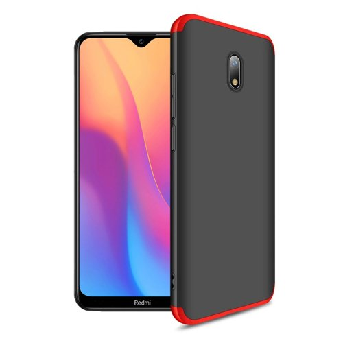 GKK 360 Protection Case Front and Back Case Full Body Cover Xiaomi Redmi 8A black-red