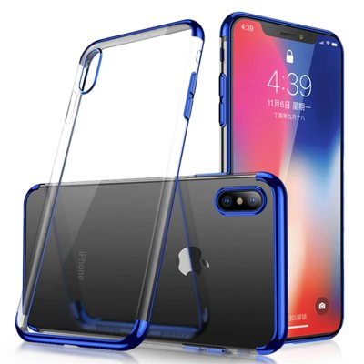 Clear Color Case Gel TPU Electroplating frame Cover for Samsung Galaxy A50s / Galaxy A50 / Galaxy A30s blue