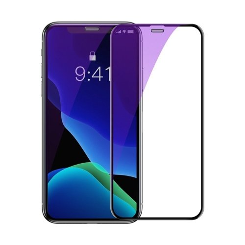Baseus 2x full-screen curved anti-blue light tempered glass screen protector for iPhone 11 Pro / iPhone XS / iPhone X black (SGAPIPH58-WE01)