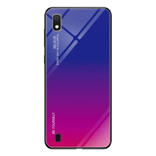 Gradient Glass Durable Cover with Tempered Glass Back Samsung Galaxy A10 pink-purple