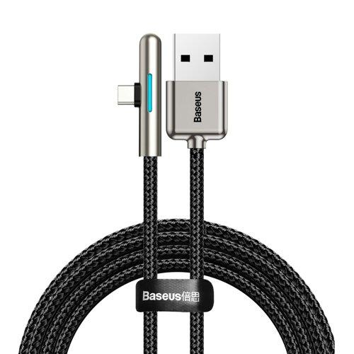 Baseus 90 Grad, Nylon USB Type C Kabel für Spieler 4A 40W Huawei Super Charge 1m schwarz (CAT7C-B01)