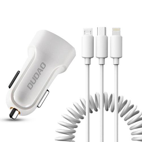 Dudao Kfz-Ladegerät 2x USB 2.4A + Kabel USB 3in1 Lightning / Typ C / Micro-USB weiß (R7 weiß)
