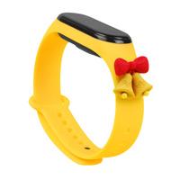 Strap Xmas opaska do Xiaomi Mi Band 4 / Mi Band 3 świąteczny silikonowy pasek bransoletka żółty (dzwonki)