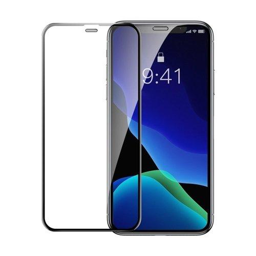 Baseus 2x szkło na cały ekran z ramką Full Screen 0.3mm 9H iPhone 11 Pro / iPhone XS / iPhone X + pozycjoner czarny (SGAPIPH58-WD01)