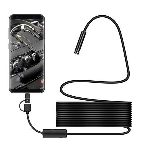 Wodoszczelna miniaturowa kamera endoskopowa inspekcyjna 8mm (śr) 5m (dł) Android USB / micro USB / USB Typ C czarny