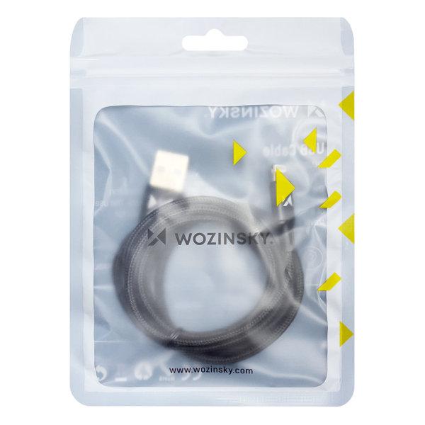 Wozinsky magnetyczny kabel przewód USB / micro USB / USB Typ C / Lightning 1m z diodą LED czarny (WMC-01)